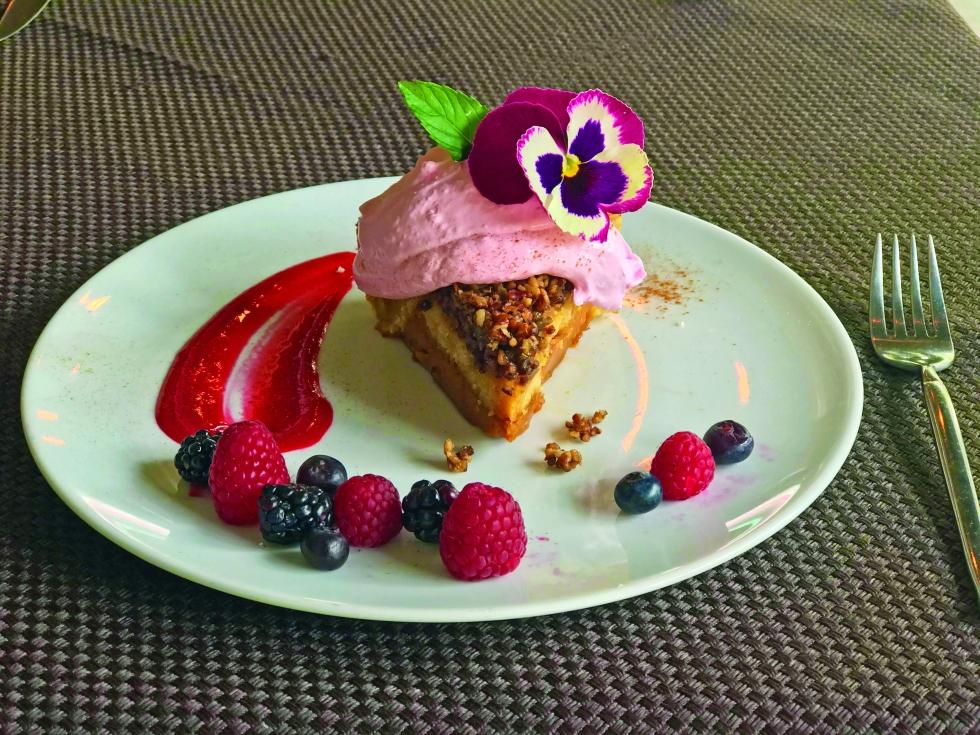 CARBONVINO - Pie de mapple y nuez con crema de Frambuesa